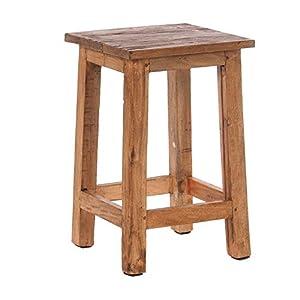 DESIGN DELIGHTS RUSTIKALER Holz SITZHOCKER Madero | 48x30x30 cm (HxBxT), Recyclingholz | Holzhocker | Farbe: 01 Natur-Vintage