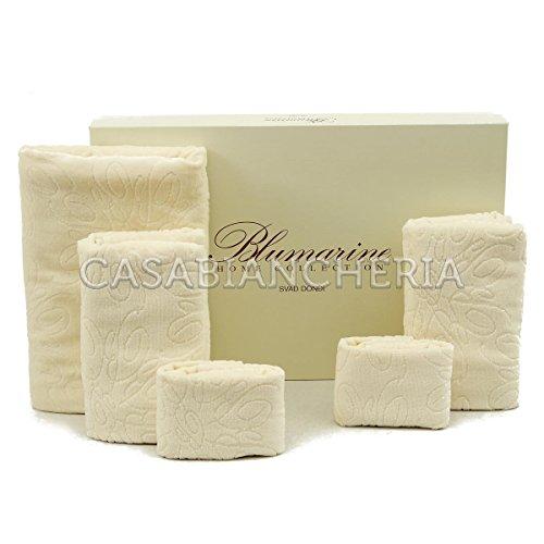 Set asciugamani bagno blumarine bon chic 5 pezzi-perla