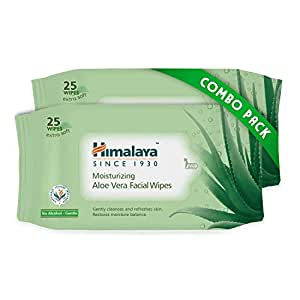 Himalaya Moisturising Aloe Vera Facial Wipes, 25 Count (Pack of 2)