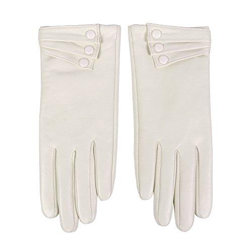 guanti pelle donna Nappaglo Nappa Pelle Guanti Caldo Fodera Inverno Bottone Decorazione Agnello Per Le Donne