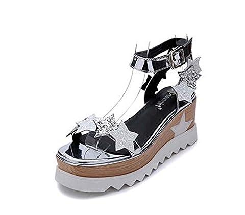 Pompe 7cm Talon compensé D'orsay Slingback Creux Des sandales Chaussures d'ascenseur Chaussures décontractées Femmes Doux Etoile à cinq pointes Sequins Open Toe 4cm Plate-forme épaisse Sangle de chevi , silver , 37