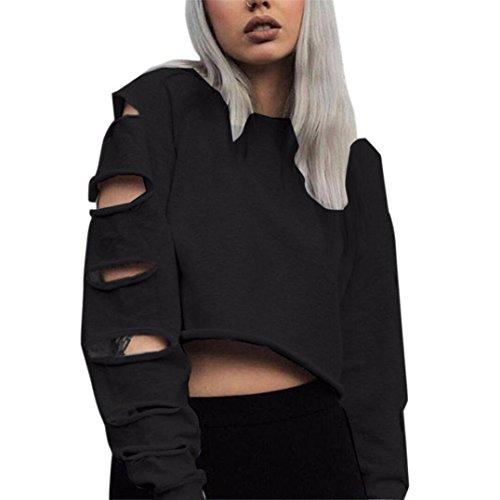 Kleid Jumper Top (Binggong Sweatshirt, Frauen Langarm Hohl Loch Sweatshirt Persönlichkeit Kurz Pullover Shirt Bluse Tops Oberteile (M, Schwarz))
