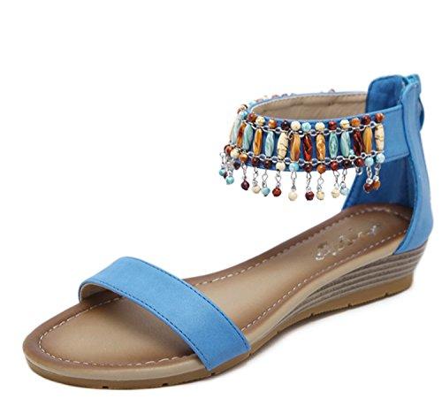 Scarpe da donna ladies girls hanging sandali perline pendio con flip flops summer holiday ( color : blue , dimensione : eu39 )