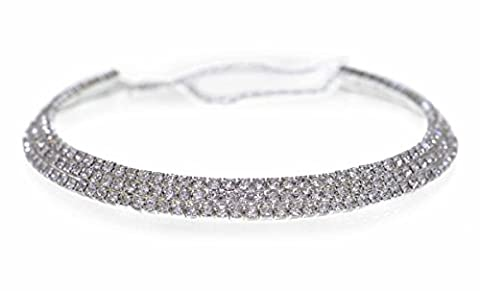 GORGEOUS 3 ROW DIAMANTE CHOKER WEDDING NECKLACE, BRAND NEW. FREE UK DELIVERY!!