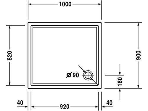 Duravit Plato de ducha Duravit STARCK Slimline m antideslizante 1000x900x50mm blanco