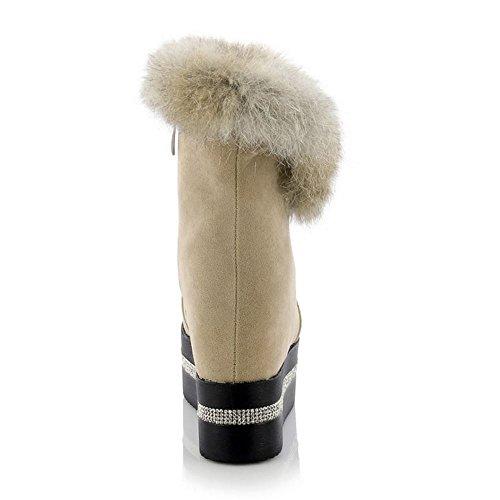 TAOFFEN Schneestiefel Damen Runde Zehe Keilabsatz Plateau Knöchelriemchen Warm Gefüttert Gemütlich Stiefeletten Beige