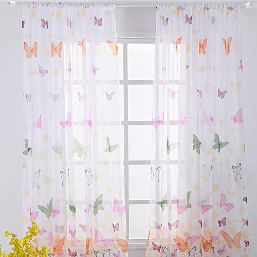 Tende da sole Tende da finestra Tenda da finestra trasparente Farfalla  Tenda con occhielli Tenda di poliestere bianca 100 X 200 cm Decorazione da  ...