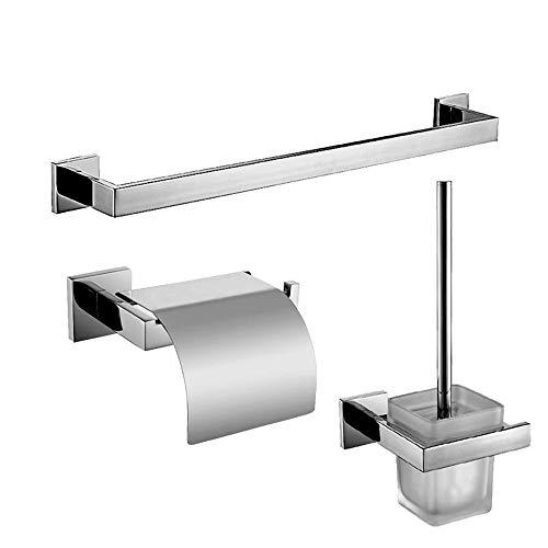 ZYC Edelstahl Silber polnisch Badezimmer Hardware Set Glatte helle Oberfläche Chromstahl Handtuchhalter/Toilettenpapierhalter,6 -