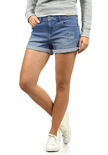 BlendShe Andreja Damen Jeans Shorts Kurze Denim Hose Mit Destroyed-Optik Aus Stretch-Material Skinny Fit, Größe:XL, Farbe:Light Blue Denim (29030)