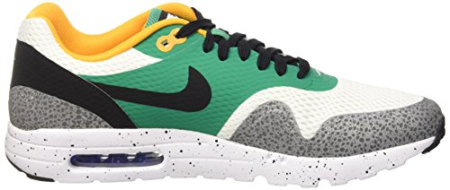 Nike  Air Max 1 Ultra Essential, Chaussures de running homme Blanc (White/Black-Emerald Green-Reflect Silver-Concord-Resin)