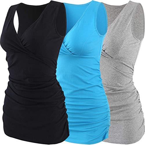 ZUMIY Still-Shirt/Umstandstop, Schwangeres Stillen Nursing Schwangerschaft Top Umstandsmode Unterwäsche (S, Black+Grey+Lake Blue/3-pk) - Mutterschaft Maternity T-shirt