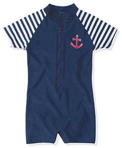 Playshoes Jungen Schwimmanzug Badebekleidung UV Schutz- Maritime, marineblau/weiß, 74/80 (6-12Monate), 460111