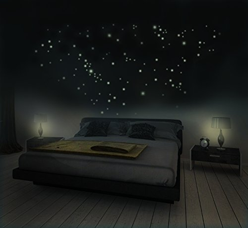 281 Leuchtsterne für Sternenhimmel, Wandsticker, fluoreszierend und im Dunkeln leuchtend. Achtung! Jetzt mit optimierter Haftkraft!