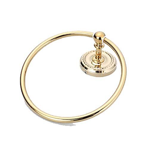 BAOFI Handtuch-Ring-Halter, Bath Hand Rack Hang Bar, Badezimmerzubehör-Messingwall-Halterung, Concealed Screw Punch Sounting, Easy to Clean with Soft Damp Cloth (8,3 Zoll) Gold - Soft Square Bath Hardware