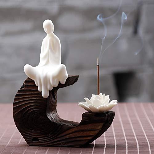 MHYNLMW Keramik Weihrauchbrenner Kreative Wohnaccessoires Teezeremonie Teeservice Accessoires Schafe Fett Weiße Keramik Kleine Mönch Zen Zeichen Tee Haustier Dekorationen