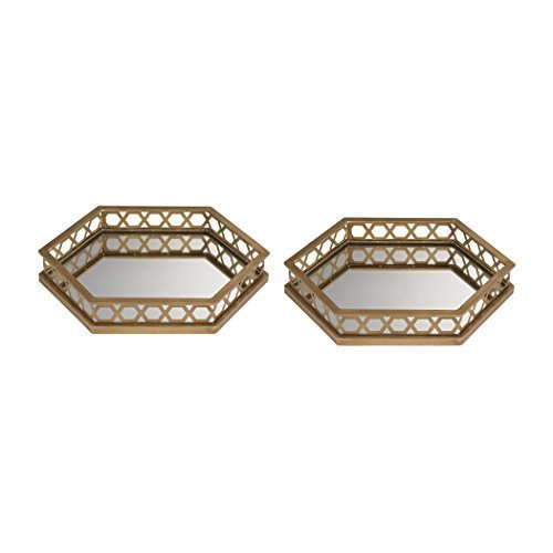 Ribbed Hexagonal Mirrored Tray - Set of 2 by Sterling Industries -