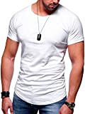 MT Styles Herren Oversize T-Shirt Raglan Crew Longline MT-7115 [Weiß, XL]