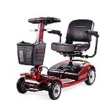 ACEDA Elektromobil, E-Mobil, Mini Scooter Faltbar Seniorenfahrzeug,Vierrädriges Elektrofahrzeug,Elektroroller,Zu Öffnender Handlauf,Elektromagnetische Bremse,Drehbarer Sitz,Red