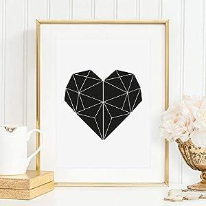 Kunstdruck, Sprüche Poster: Geometrisches Herz | Hochwertiges und festes Premiumpapier | Ohne Rahmen