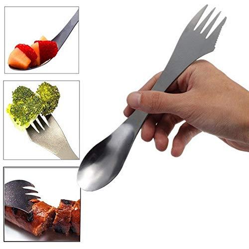 Ein Combo-küche (Gaddrt 2 stück 3 in 1 Titan Gabel Löffel Spork Besteck Utensil Combo Küche Picknick im Freien)