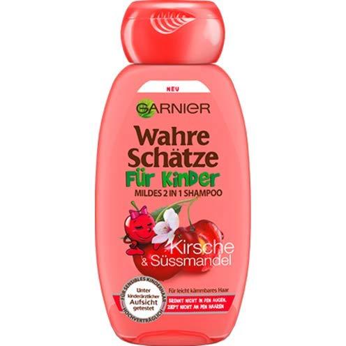 Mildes Haarshampoo/Shampoo WAHRE SCHÄTZE - FÜR KINDER (Kirsche + Süssmandel / 300 ml) KEIN BRENNEN UND ZIEPEN