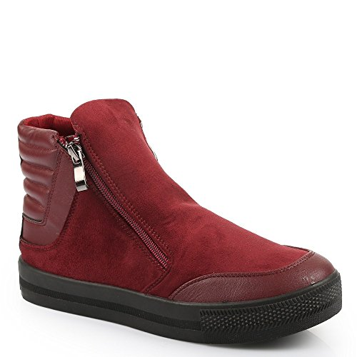 Ideal Shoes – Sneaker bi-materiale a zip fireno Rosso