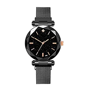 DIKHBJWQ Mode Smartwatch Damen Magnetische Sternenhimmel Uhr Fitness Uhren Intelligente Armbanduhr Analog-Digital Fitness Diamant Weibliche Quarz Armbanduhren Leder Armband für Mädchen Männer