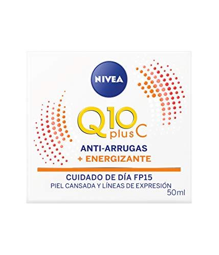 NIVEA Q10 Plus C, crema energizante antiarrugas, crema de día antiedad con coenzima Q10 y vitamina C, crema facial revitalizante con FP15