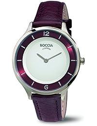 Boccia–Reloj de cuarzo para mujer con correa de piel color blanco esfera analógica pantalla y morado b3249–02