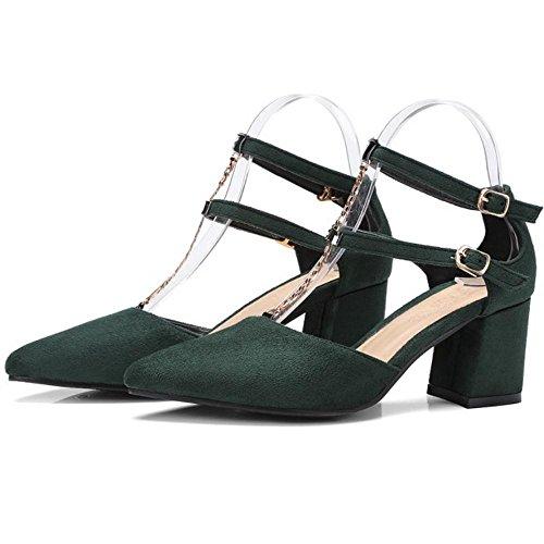 TAOFFEN Donna Moda Tacco A Blocco Scarpe Army Green