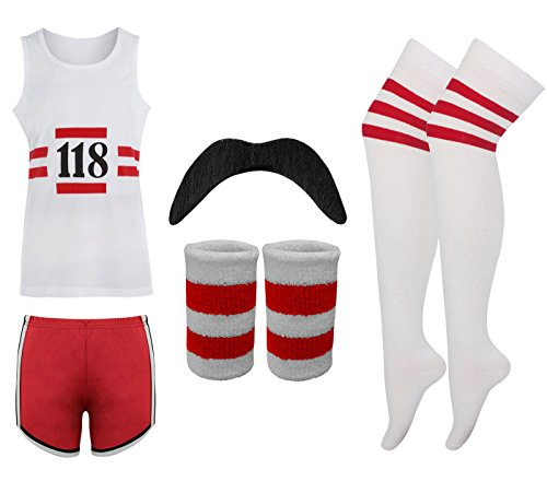118 LADIES FANCY DRESS COSTUME MARATHON RETRO VEST SHORTS TASH SOCKS - Marathon Kostüm Mädchen
