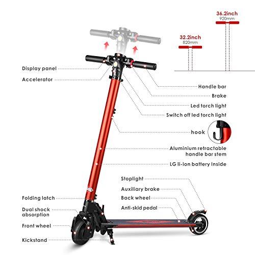 PARTU Elektro Scooter Höhenverstellbarer Elektroscooter E-Scooter für Erwachsene mit 5,2 Ah LG Akku - Max. Geschwindigkeit bis zu 25 km/h, Kein Stunt Scooter
