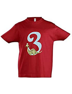 wolga-kreativ T-Shirt Dino 3 Geburtstag Gr. 96-104 cm Dinosaurier Geburtstagsshirt rot