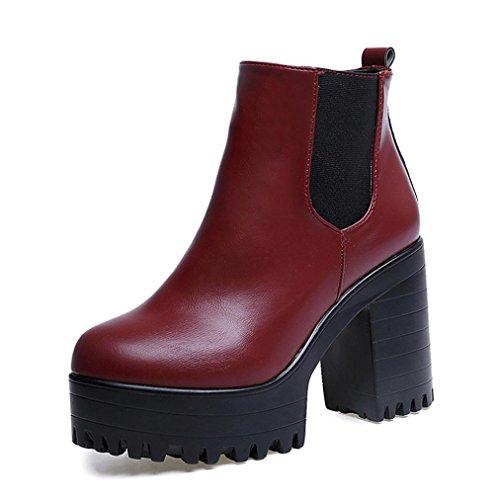 Martin Stiefel Damen Schuhe Sonnena Plateau Stiefeletten Schwarz Frauen Square Heel Plattformen High Pump Stiefel Leder-Optik Schuhe Blockabsatz Boots Ankle Boots mit Reißverschluss (37, Sexy Rot)