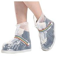 Deinbe 1 Pair Waterproof Rain Shoes Covers Unisex Outdoor Non-slip Overshoes Drawstring Zipper Rain Boot