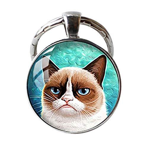 kuppel-Schlüsselanhänger Grumpy Cat Schlüsselanhänger ()