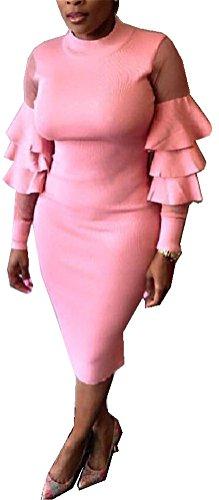 Frauen reizvolle Laterne Langarm-Mesh-Panelled dünner Solid Color Clubwear-Paket-Hüfte-Kleid
