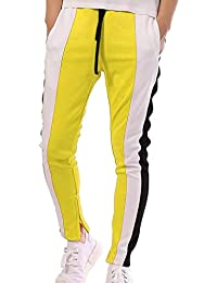 Hombres Hip-Hop Elástico Pantalones De Chándal Rayas Transpirables  Pantalones para Jog Gym ... b28e8a80e71e