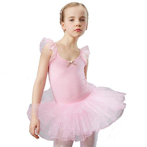 Wgwioo mädchen ballett tanz kleid kinder bühnen studenten gruppe team gymnastik praxis match kleidung kindergarten kinder prinzessin tulle party coverall leistung kostüme , pink , 110cm (Halloween Kostüme Für Ballett Tänzer)