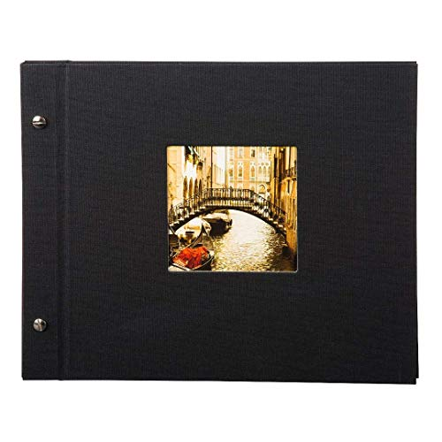 Goldbuch Schraubalbum mit Fensterausschnitt, Bella Vista, 30 x 25 cm, 40 schwarze Seiten mit Pergamin-Trennblättern, Erweiterbar, Leinen, Schwarz, 26977