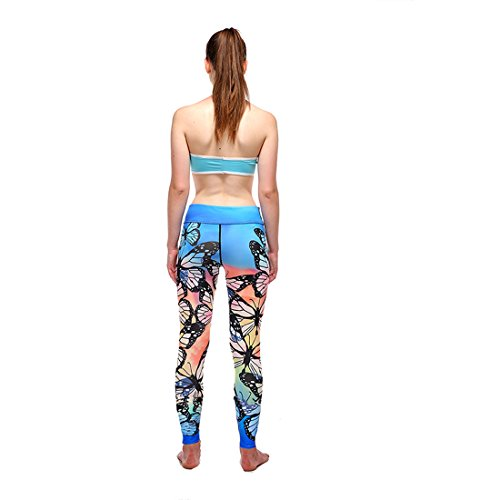 Vertvie Femme Leggings de Sport Pantalon Imprimé Floral Collant Stretch Extensible pour Yoga Fitness Jogging Gym Bleu 1