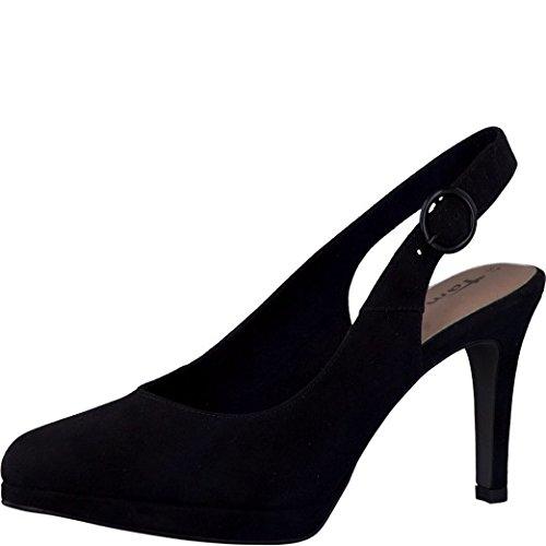 Tamaris Schuhe 1-1-29605-28 bequeme Damen Sling, Sommerschuhe für modebewusste Frau, schwarz (BLACK), EU 38 (Sling Schwarz Schuhe)