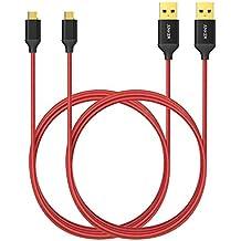 Anker Micro USB Kabel, 2-Pack 1.8 m Nylon Ladekabel mit vergoldeten Steckern für Android, Samsung, HTC, Nokia, Nexus, Sony und weitere Smartphones (Rot)