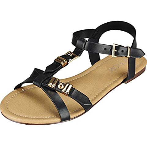 New Ladies Gladiator Sandals Womens Summer Flat Beach Shoes Open Toe Strappy (UK 7)