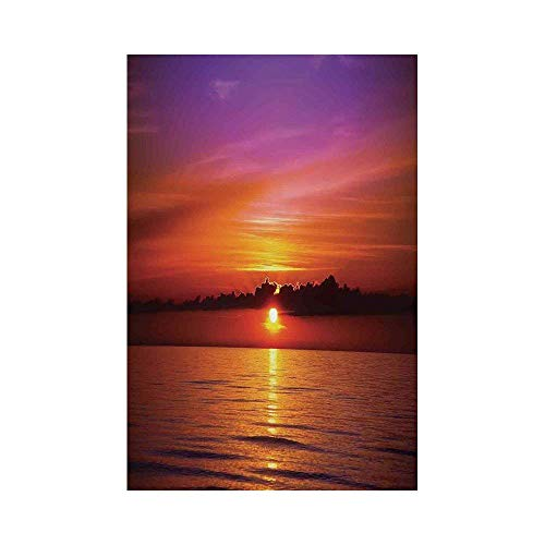 Liumiang Eco-Friendly Manual Custom Garden Flag Demonstration Flag Game Flag,Ocean Decor,Romantic Sunset on The Beach Sunlight Reflection on The Sea Colorful Sky Picture,Red Purplearden décor -