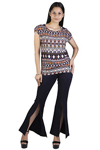 Lili Printed Round Neck Casual Tops for Womens (Multi, Tan)