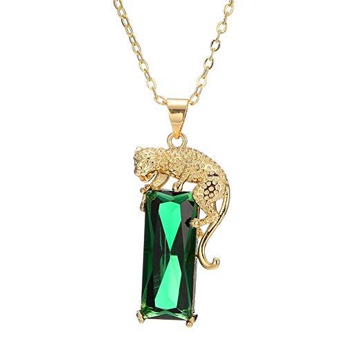 d Überzogene Kristall-Leopard Halskette, Hip Hop Punk Smaragd Panther Halskette Schmuck Geschenke Erstellt grün Einstellbar ()