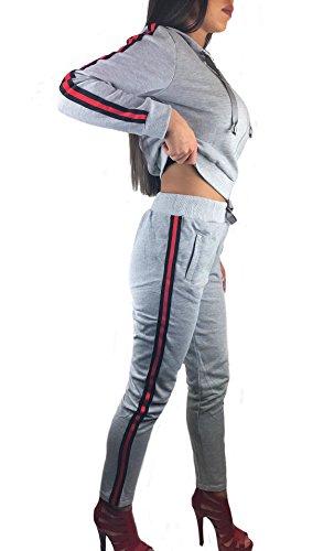 Worldclassca Damen Jogginganzug MIT Streifen Party Jogging Schlafanzug Clubwear Army Trainingsanzug Fitness Yoga Sportanzug Jacke Hose Set Langarm Hoodie Blogger S-XL (S/M, Grau Streifen)