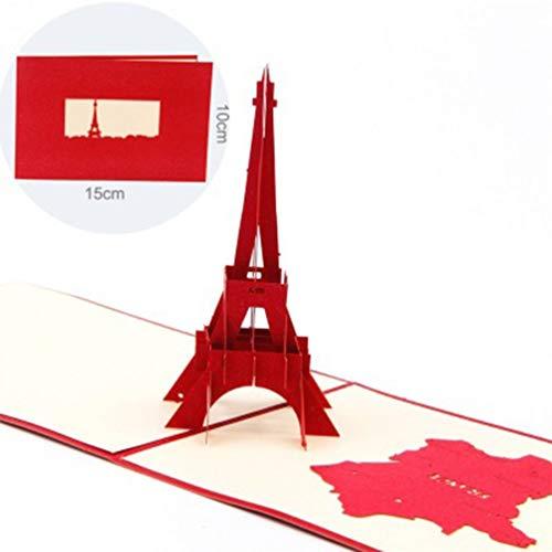 Taohou pop-up 3d pop-up parigi biglietti d'auguri per la torre eiffel biglietti da visita pieghevoli compleanno rosso