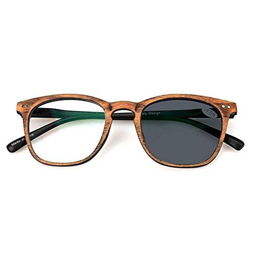 Jackson wang Lesebrille, vorübergehende photochrome Progressive multifokale Sonnenbrille, Strahlenschutz, UV-Schutz, Farbwechsel im Freien für Männer und Frauen,Brown,+1.75
